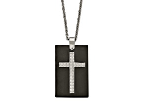 White Cubic Zirconia Polished Stainless Steel Ceramic Mens Cross Pendant With Chain