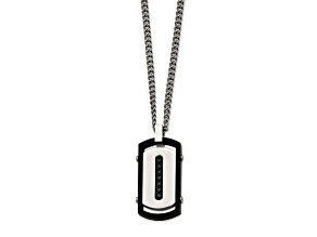 Black Cubic Zirconia Stainless Steel Mens Pendant With Chain