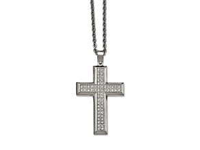 White Cubic Zirconia Polished Stainless Steel Mens Cross Pendant With Chain