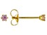 Pink Cubic Zirconia 18K Yellow Gold Over Sterling Silver Stud Earrings 0.16ctw