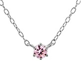 Pink Cubic Zirconia Rhodium Over Sterling Silver Necklace 0.13ctw