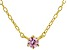 Pink Cubic Zirconia 18K Yellow Gold Over Sterling Silver Necklace 0.13ctw
