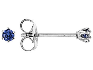 Picture of Blue Cubic Zirconia Rhodium Over Sterling Silver Stud Earrings 0.18ctw