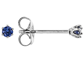 Blue Cubic Zirconia Rhodium Over Sterling Silver Stud Earrings 0.18ctw