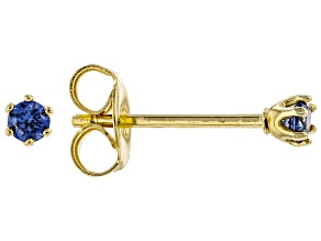 Blue Cubic Zirconia 18K Yellow Gold Over Sterling Silver Stud Earrings 0.18ctw