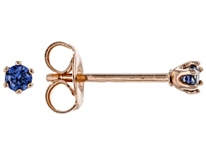 Blue Cubic Zirconia 18K Rose Gold Over Sterling Silver Stud Earrings 0.18ctw