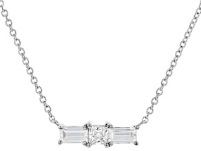 White Cubic Zirconia Rhodium Over Sterling Silver Necklace 0.77ctw