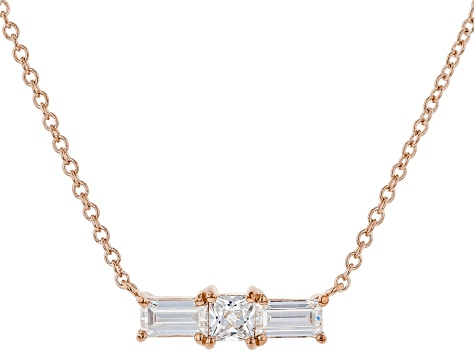 White Cubic Zirconia 18K Rose Gold Over Sterling Silver Necklace 0.77ctw