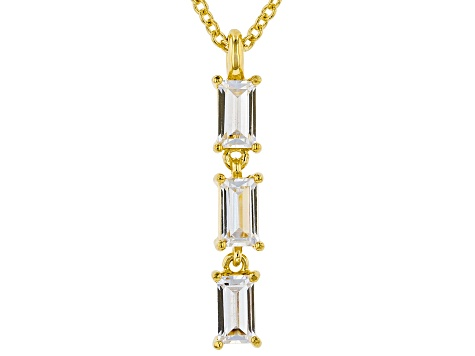 White Cubic Zirconia 18K Yellow Gold Over Sterling Silver Pendant With Chain 0.79ctw