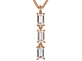 White Cubic Zirconia 18K Rose Gold Over Sterling Silver Pendant With Chain 0.79ctw