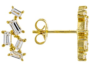 White Cubic Zirconia 18K Yellow Gold Over Sterling Silver Earrings 0.97ctw