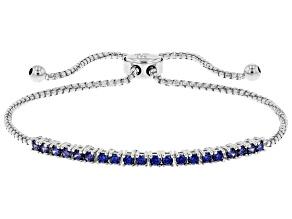 Blue Cubic Zirconia Rhodium Over Sterling Silver Adjustable Bracelet 1.08ctw
