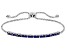 Blue Cubic Zirconia Rhodium Over Sterling Silver Adjustable Bracelet 1.08ctw
