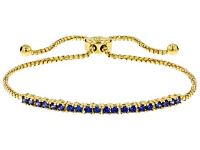 Blue Cubic Zirconia 18K Yellow Gold Over Sterling Silver Adjustable Bracelet 1.08ctw