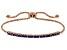 Blue Cubic Zirconia 18K Rose Gold Over Sterling Silver Adjustable Bracelet 1.08ctw
