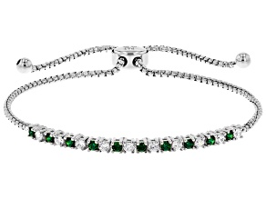 Green And White Cubic Zirconia Rhodium Over Sterling Silver Adjustable Bracelet 1.12ctw