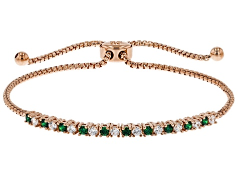 Green And White Cubic Zirconia 18K Rose Gold Over Sterling Silver Adjustable Bracelet 1.12ctw