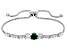 Green And White Cubic Zirconia Rhodium Over Sterling Silver Adjustable Bracelet 2.36ctw