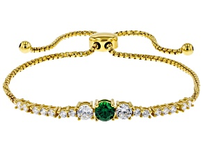 Green And White Cubic Zirconia 18K Yellow Gold Over Sterling Silver Adjustable Bracelet 2.36ctw
