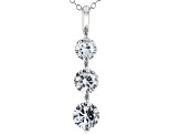 White Cubic Zirconia Rhodium Over Sterling Silver Pendant With Chain 3.20ctw