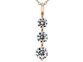 White Cubic Zirconia 18K Rose Gold Over Sterling Silver Pendant With Chain 3.20ctw