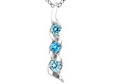 Blue Cubic Zirconia Rhodium Over Sterling Silver Pendant With Chain 0.42ctw