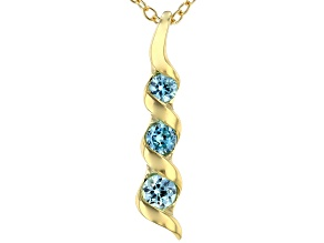 Blue Cubic Zirconia 18K Yellow Gold Over Sterling Silver Pendant With Chain 0.42ctw