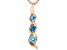Blue Cubic Zirconia 18K Rose Gold Over Sterling Silver Pendant With Chain 0.42ctw