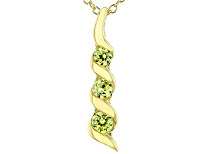 Green Cubic Zirconia 18K Yellow Gold Over Sterling Silver Pendant With Chain 0.40ctw