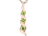 Green Cubic Zirconia 18K Rose Gold Over Sterling Silver Pendant With Chain 0.40ctw