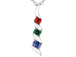 Blue, Green, And Red Cubic Zirconia Rhodium Over Sterling Silver Pendant With Chain 0.41ctw