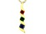 Blue, Green, And Red Cubic Zirconia 18K Yellow Gold Over Sterling Silver Pendant With Chain 0.41ctw