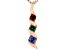 Blue, Green, And Red Cubic Zirconia 18K Rose Gold Over Sterling Silver Pendant With Chain 0.41ctw