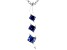 Blue Cubic Zirconia Rhodium Over Sterling Silver Pendant With Chain 0.40ctw