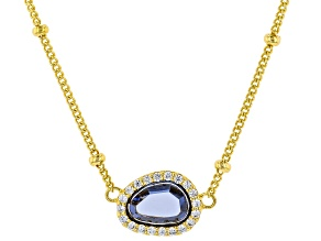 Blue And White Cubic Zirconia 18K Yellow Gold Over Sterling Silver Necklace 1.48ctw