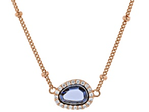 Blue And White Cubic Zirconia 18K Rose Gold Over Sterling Silver Necklace 1.48ctw