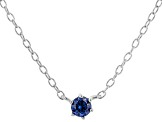Blue Cubic Zirconia Rhodium Over Sterling Silver Necklace 0.13ctw