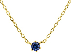 Blue Cubic Zirconia 18K Yellow Gold Over Sterling Silver Necklace 0.13ctw