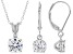 White Cubic Zirconia Rhodium Over Sterling Silver Pendant With Chain And Earrings Set 3.70ctw