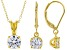 White Cubic Zirconia 18K Yellow Gold Over Silver Pendant With Chain And Earrings Set 3.70ctw