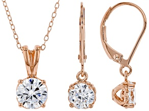 White Cubic Zirconia 18K Rose Gold Over Silver Pendant With Chain And Earrings Set 3.70ctw