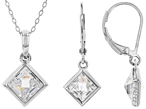 White Cubic Zirconia Rhodium Over Sterling Silver Pendant With Chain And Earrings 10.49ctw