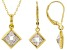 White Cubic Zirconia 18K Yellow Gold Over Sterling Silver Pendant With Chain And Earrings 10.49ctw