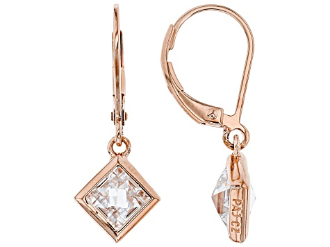 White Cubic Zirconia 18K Rose Gold Over Sterling Silver Pendant With Chain And Earrings 10.49ctw