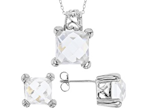 White Cubic Zirconia Rhodium Over Sterling Silver Pendant With Chain And Earrings 17.07ctw