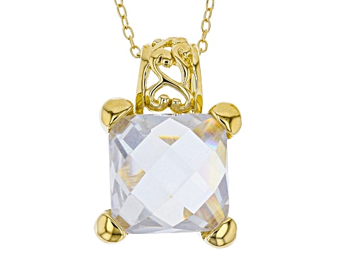 White Cubic Zirconia 18K Yellow Gold Over Sterling Silver Pendant With Chain And Earrings 17.07ctw