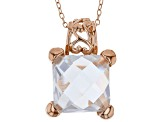 White Cubic Zirconia 18K Rose Gold Over Sterling Silver Pendant With Chain And Earrings 17.07ctw