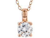 White Cubic Zirconia 18K Rose Gold Over Sterling Silver Pendant With Chain And Earrings 2.43ctw