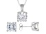 White Cubic Zirconia Rhodium Over Sterling Silver Pendant With Chain And Earrings 12.57ctw