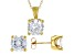 White Cubic Zirconia 18K Yellow Gold Over Sterling Silver Pendant With Chain And Earrings 12.57ctw